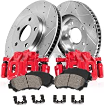 CCK02027 FRONT Powder Coated Red [2] Calipers + [2] Zinc Plated Drilled/Slotted Rotors + Low Dust [4] Ceramic Pads