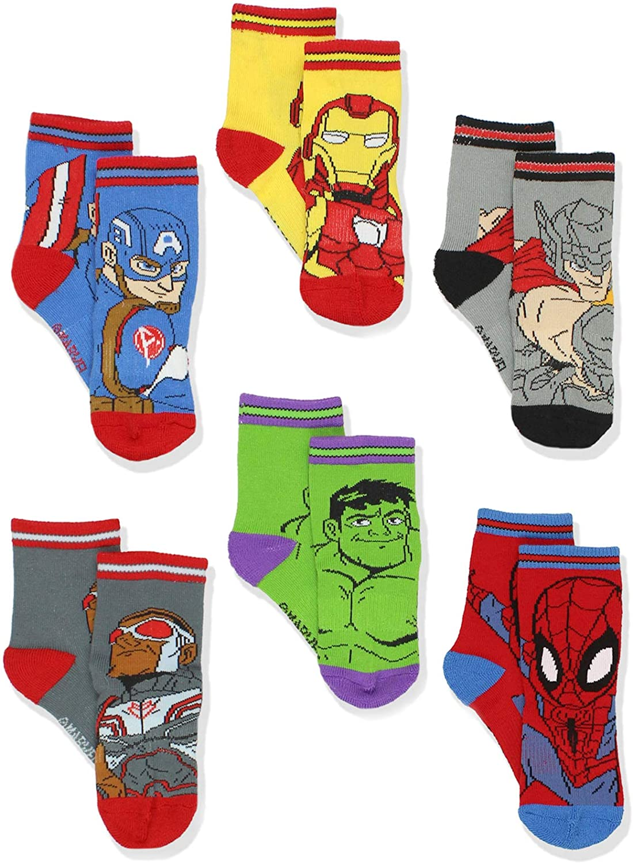 Super Hero Adventures Spider-Man Boys Toddler 6 pack Crew Socks