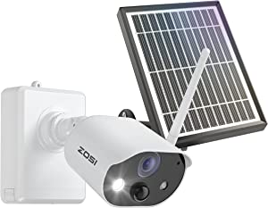 ZOSI C306 1080P Rechargeable Battery Powered Security Camera with Solar Panel,Indoor Outdoor,Night Vision,2-Way Audio,PIR Motion Detection,Smart Light,Sound Alarm,Cloud/SD Card Storage(No SD Card)