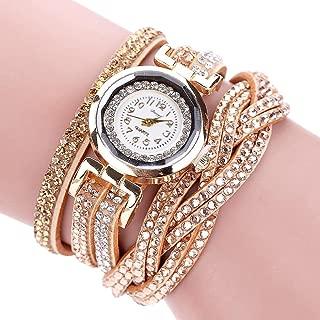 Hunputa Women Luxury Crystal Women Gold Bracelet Quartz Wristwatch Rhinestone Clock Ladies Dress Gift Watches (Gold)