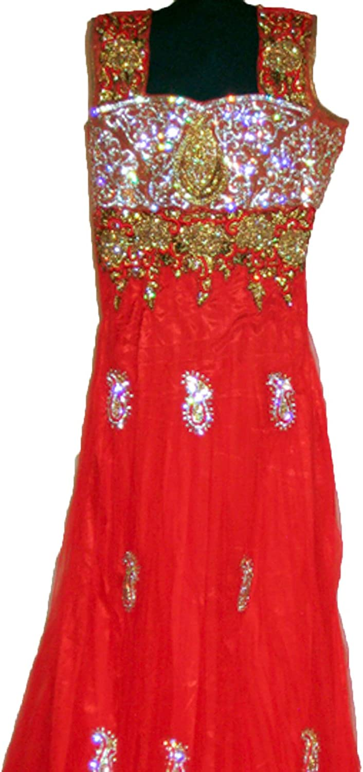 Party Dresses for Women Fashion  3 Piece Net Anarkali Red Indian Dress, Medium