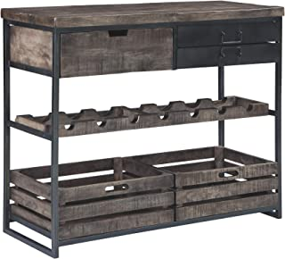 Ashley Furniture Signature Design - Ponder Ridge Accent Cabinet & Wine Rack - Solid Wood in Black/Gray Wash - Gunmetal Finished Metal - 3 Drawers/2 Removeable Bins