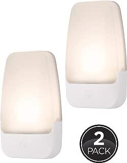 GE LED Night Light, 2 Pack, Plug-in, Dusk-to-Dawn Sensor, Home Décor, Ideal for Bedroom, Nursery, Bathroom, Hallway, Soft, 30966, White   Automatic, 2