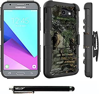 Case for Galaxy J7 2017/J7 V / J7 Prime / J7 Perx / J7 Sky Pro/Galaxy Halo Case, MELOP Three Layer Swivel Belt Clip with Kickstand Holster Built-in Armor Case for Samsung Galaxy J7 2017 - Jungle Camo