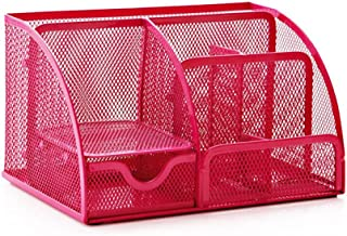 Office Desk Tidy Organiser Pen Holder Mesh Stationery Container (Red)