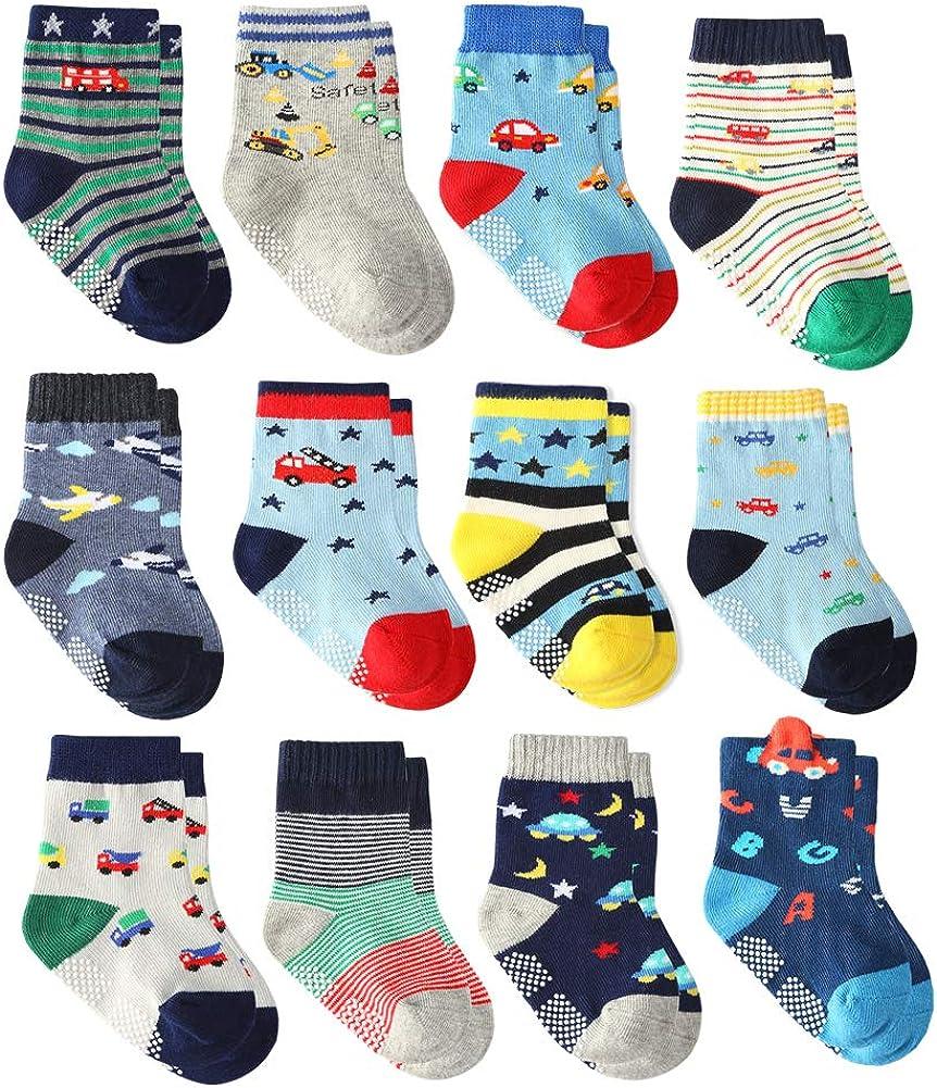1-3 Years, 12 pairs 12 Pairs Baby Boys Toddler Non Skid Cotton Socks with Grip 1-3 Years by Flanhiri