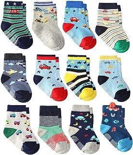 Calcetines Gruesos de Algodón de 12 Pares para Niños Pequeños, Calcetines Antideslizantes para Niños Pequeños Antideslizantes con Agarres