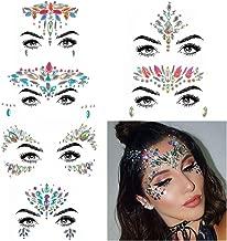 COKOHAPPY 6 Sets Rhinestone Mermaid Face Jewels Tattoo - BODY STICKERS Crystal Tears Gem Stones Bindi Temporary Stickers (Collection 1)
