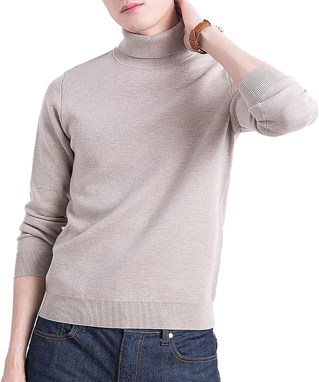 Men's Lapel Casual Knitted High Collar Slim Fit Pullover Sweatshirt Soft Lightweight Sweatshirts