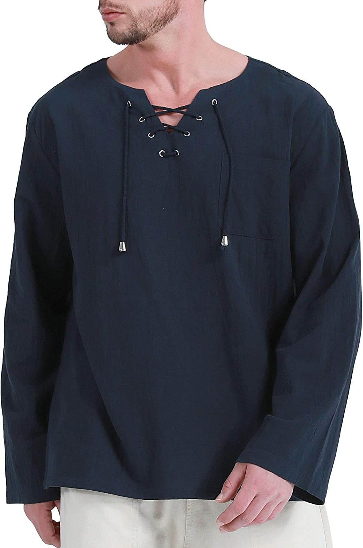 Fashonal Men's Cotton Linen Hippie Shirts Casual Lace Up Tunic V-Neck Yoga Beach Top