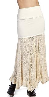 Gypsy05 Poppy Crochet Maxi falda para mujer, color marfil, pequeño, mediano