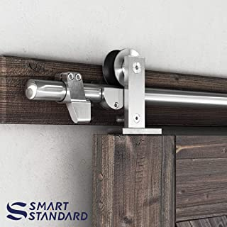 SMARTSTANDARD 5ft Top Mount Sliding Barn Door Hardware Kit - Stainless Steel Heavy Duty Sturdy Barn Door Track - Super Smoothly and Quietly - Fit 30