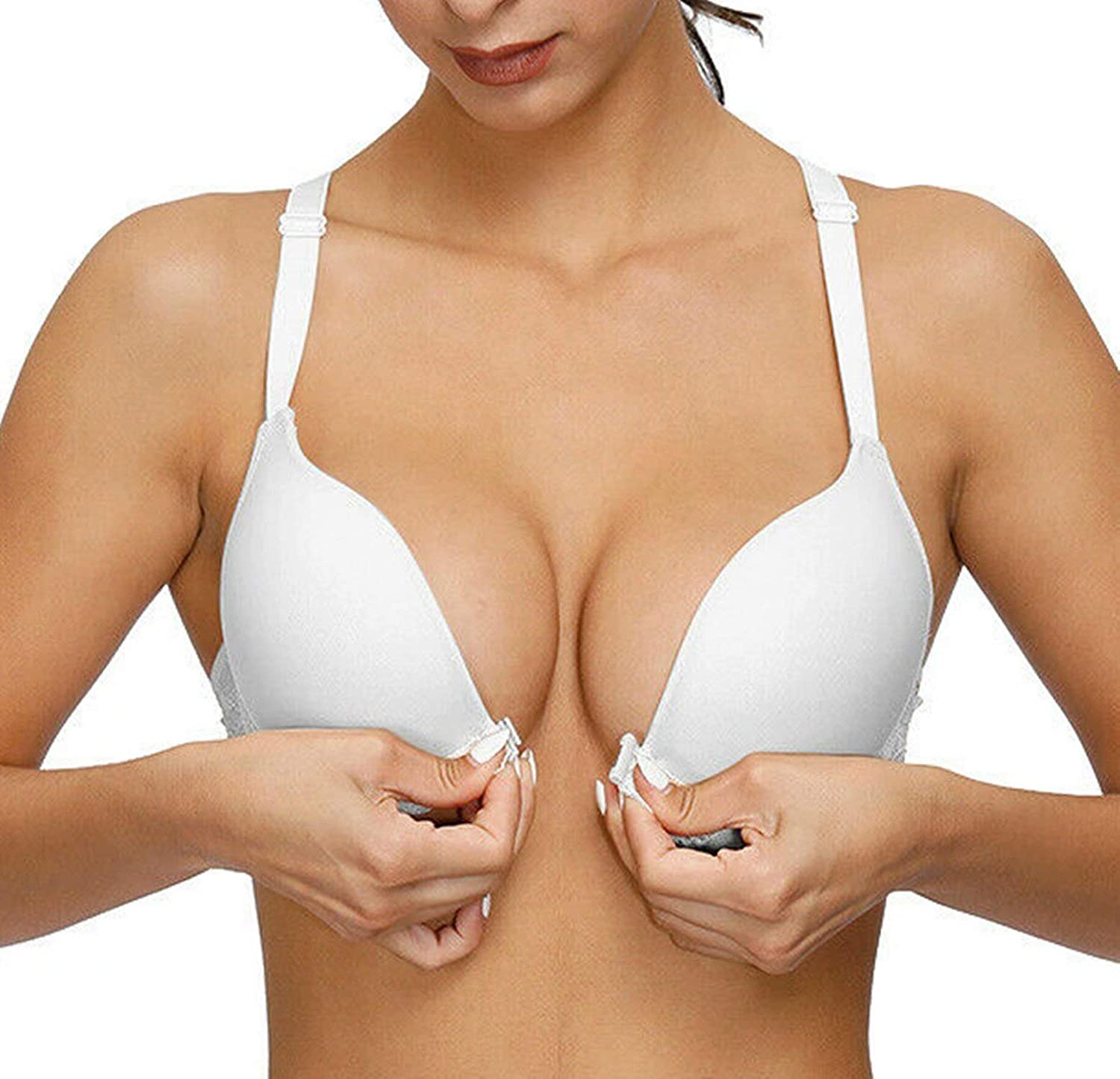 Womens Front Closure Push Up Bra Underwired Padded Max Support Lifts Cleavage Lace T-Back Racerback