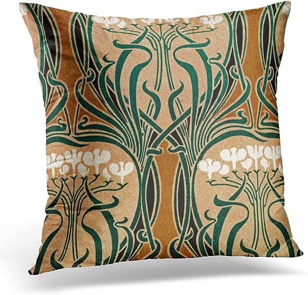TORASS Throw Pillow Cover Floral Vintage Nouveau Design Arts Decorative Pillow Case Home Decor Square 16 X 16 Inch Pillowcase