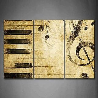 First Wall Art - Musique Tableau Toile Note et Touches du Piano Peinture Murale Cadre 3 Pièces Moderne Art Poster Decorati...