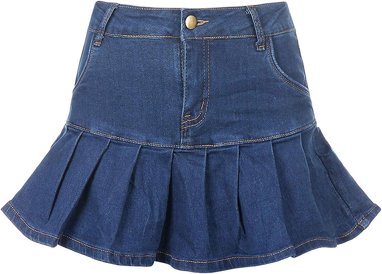 Faithtur Women and Girls Goth Skirt High Waist Multi Layers Denim Mesh Ruffled Jeans Skirt