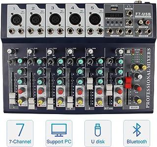 Professional Audio Mixer, ALPOWL Sound Board Console System, Interface 7 Channel Digital USB Bluetooth MP3 Computer Input ...