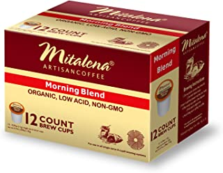 Mitalena Morning Blend Organic Arabica Low Acid Coffee 72 ct K-cup (6 packs of 12 ct)