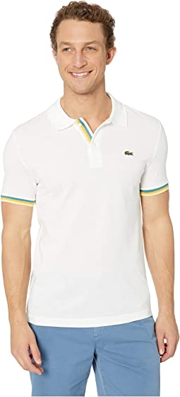 Short Sleeve 2 Ply Pique Slim Fit Striped Bottom Sleeve Polo