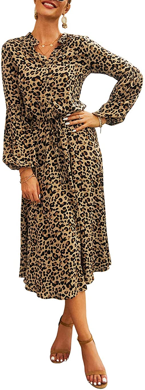KIRUNDO 2021 Women's Midi Leopard Dress Stylish Long Sleeves High Waist Dress Button Front Drawstring Belt A-Lined Dress