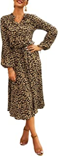 2019 Women's Midi Leopard Dress Stylish Long Sleeves High...