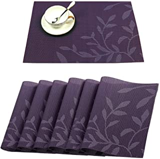Tennove Table Mats Set of 6, Washable Placemats Woven Vinyl PVC Place Mat for Home, Kitchen and Outdoor (Purple - Flower)