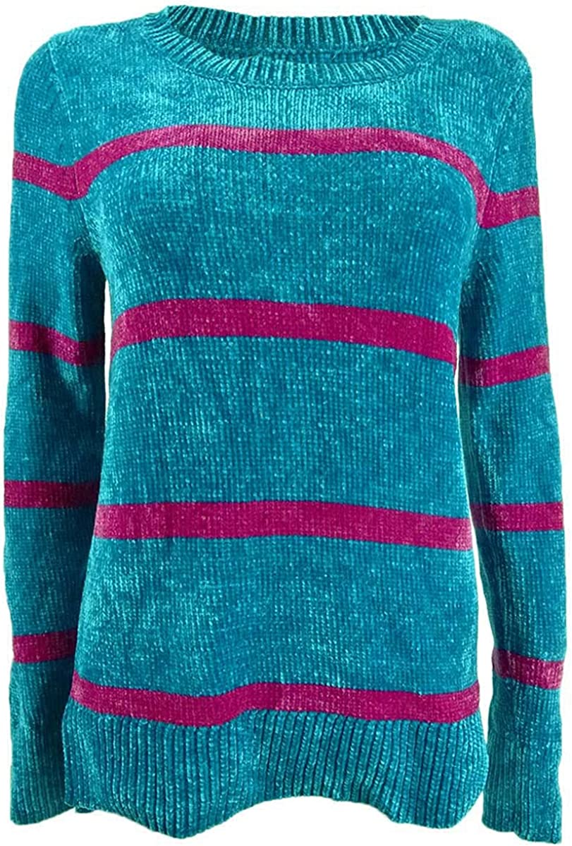 Maison Jules Womens Audrey Chenille Striped Sweater