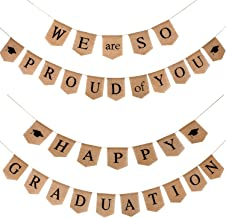 Zonon 2 Pieces Graduation Burlap Banner - Happy Graduation Banner and We Are So Proud of You Banner for Graduation Party Supplies