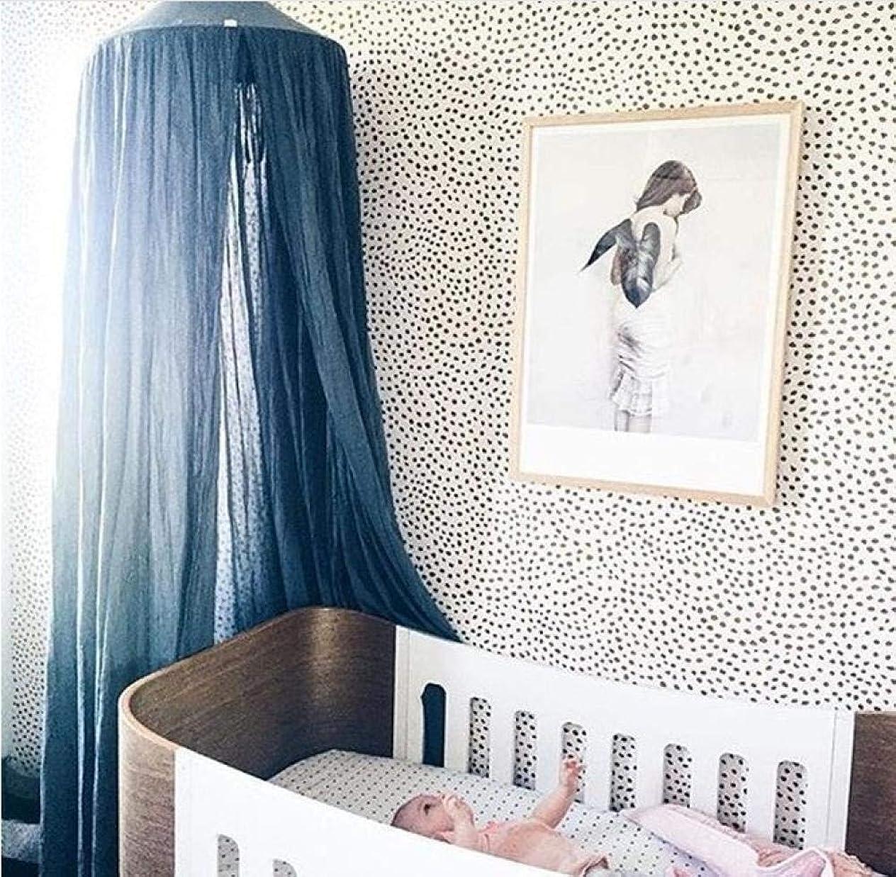 野望ドラム確認する停電蚊帳テントコットン無地ベビードームベッドネット蚊帳吊り赤ちゃんダークグリーンベッドサイドキャノピー