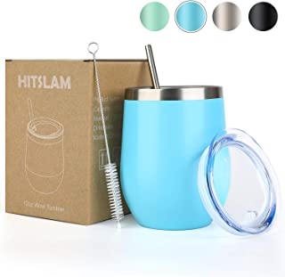 HITSLAM Wine Tumbler 12oz Stainless Steel Tumbler Vacuum Insulated Wine Glass Double Wall Coffee Mug for Champaign, Beer, Office use includes Straw Lid, Straw, Cleaning Brush (Blue)