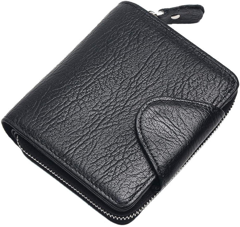 JSHDKC Leather Men schwarz Coin Purse Card Holder Male Wallets Big Capacity Short Purse with Zipper Pocket B07PFPJB44
