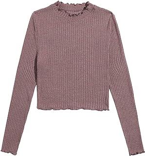 Verdusa Women's Casual Mock Neck Long Sleeve Waffle Knit Basic Tee Top