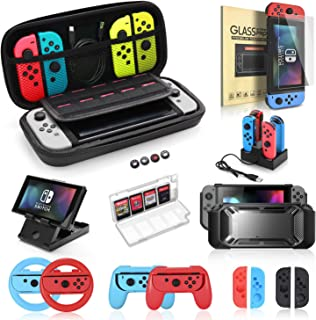 Accessories Bundle for Nintendo Switch, Kit with Carrying Case,Protective Case with Screen Protector,Compact Playstand,Game Case,Joystick Cap,Charging Dock,Grip and Steering Wheel for Nintendo Switch