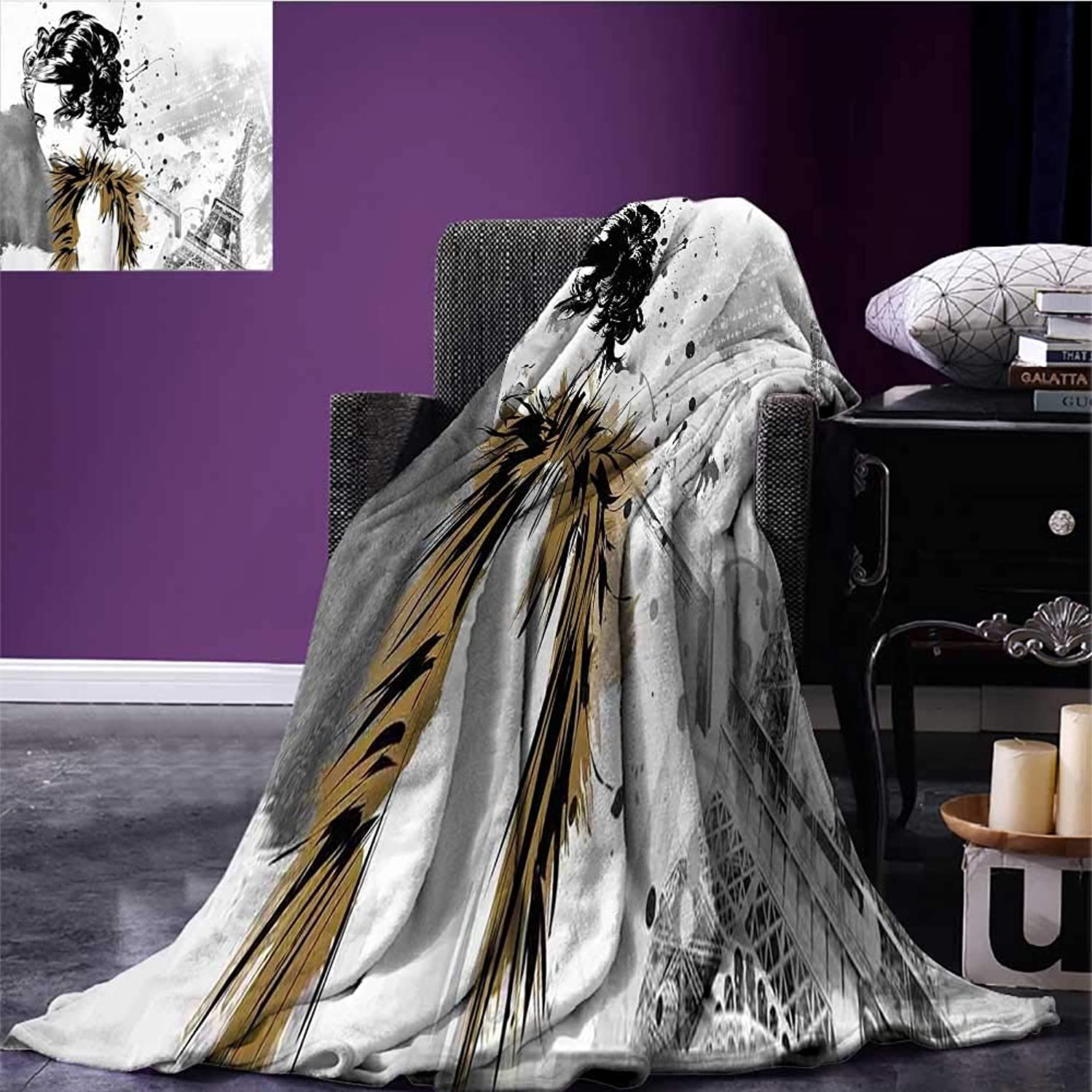 Modern Throw Blanket Posing Fashion Model Girl with Feathers and Dots Paris Eiffel Contemporary Artful Warm Blanket Grey White Bed or Couch 90