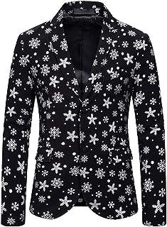 Men's Silver Printed Snowflake Blazer Two Buttons Peak Lapel Christmas Coat Regular Fit Tuxedos Jacket