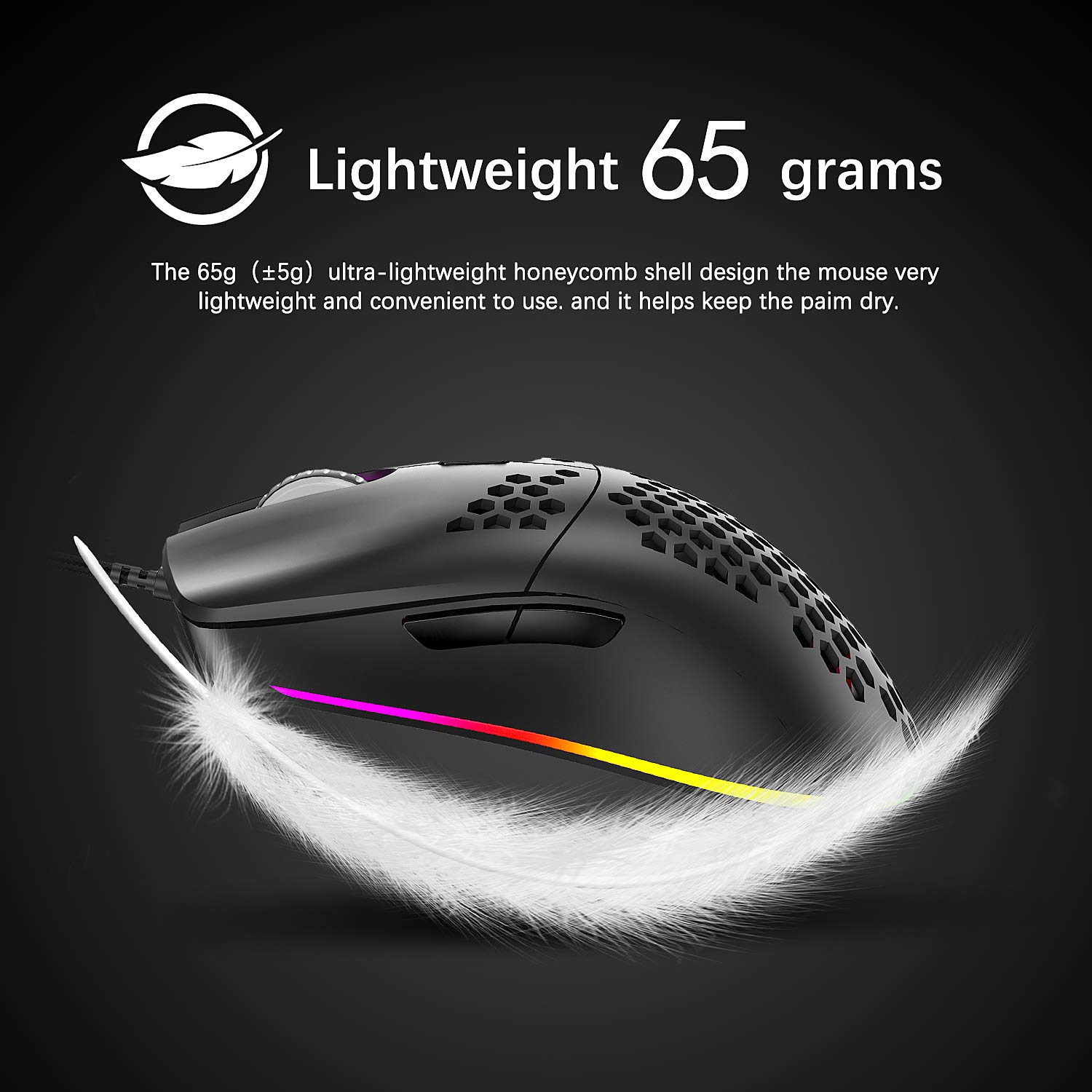 Lightweight Wired Gaming Mouse with 7 Button 26 RGB Backlit Programmable Driver PAW3325 12000 DPI Optical Sensor Ultralight Ergonomic 65G Honeycomb Shell Ultraweave Cable for PC Xbox PS4 Gamer Black
