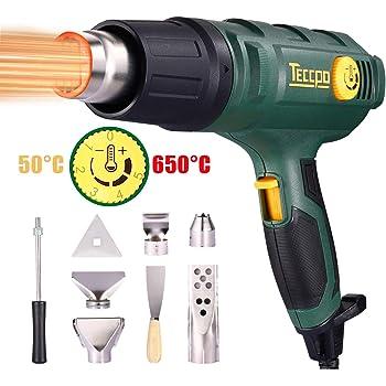 3 r/égulateurs de temp/érature avec 5 accessoires -TAHG07P De TECCPO Pistolet /à air Calda 50 /° C /à 600 /° C volume de 500L // MIN Pistolet /à thermom/ètre TECCPO 2000W 240V