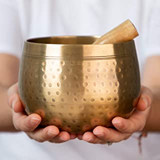 Meditative Brass Singing Bowl with Mallet and Cushion ​-Tibetan Sound Bowls for Energy Healing, Mindfulness, Grounding, Zen, Meditation​ - ​Exquisite, Unique Home Decor and Gift Sets