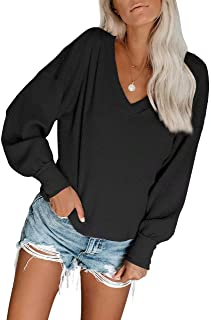 PinUp Angel Puff Long Sleeve Waffle Knit Top for Women Casual Unique Loose Fall Shirt Blouse