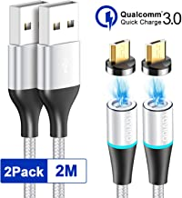 RAVIAD Magnético Cable Micro USB, [2Pack, 2M] Cable Micro USB Magnetic de Carga Rápido y Sincronización de Datos Cargador iman para Android Galaxy S6 S7, Xiaomi, Huawei, Nexus, Sony, Kindle
