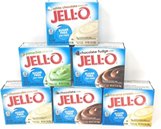 Jell-O Sugar Free Fat Free Pudding & Pie Filling Bundle of Six: Chocolate, Banana Cream, White Chocolate,Cheesecake, Pistachio and Chocolate Fudge (6 Boxes about 1 Ounces Each)