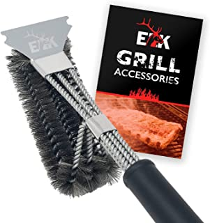 "ELK Grill Brush and Scraper BBQ Brush Set, Safe 17"" Stainless Steel Woven Wire 3 in 1 Bristle Grill Cleaning Brush for Web..."