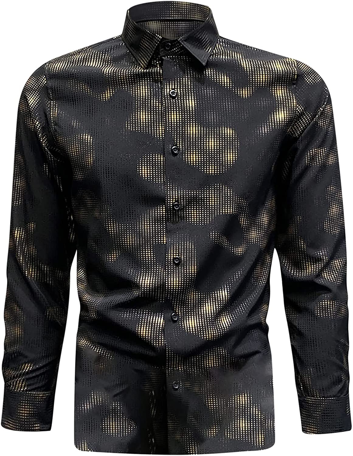 Men's Shirts Luxury Trend Design Slim Fit T-Shirts Long Sleeve Lapel Button up Dress Shirts for Party