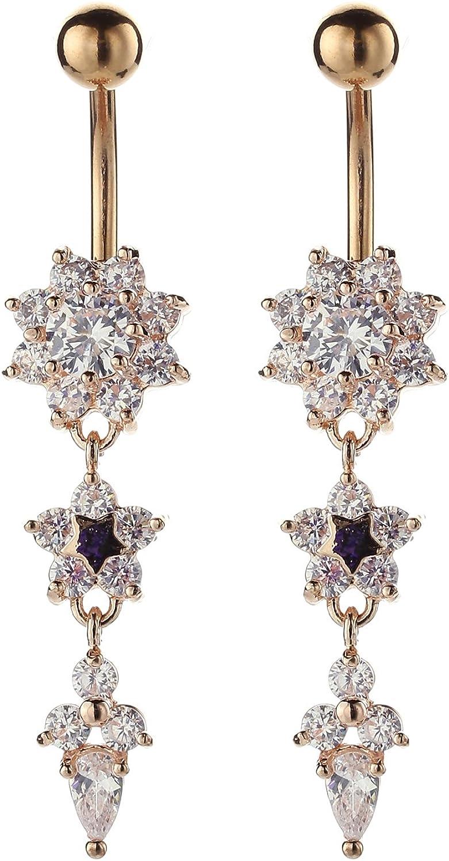 QTALKIE Long Dangling CZ Flower Belly Rings Piercing Jewelry Steel Body Dangle Belly Bellow Button Navel Ring