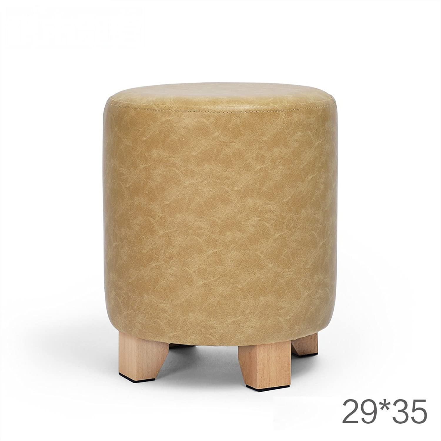 SMC Stool Solid Wood Leather Round European Style Simple Ideas Lightweight Comfortable Sofa Living Room Bedroom Stools shoes Change Stool (color   D)