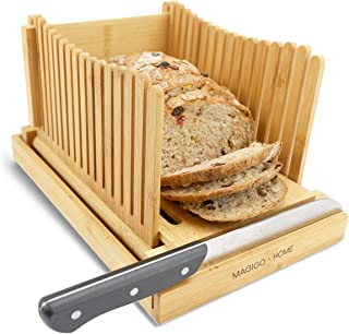 MAGIGO Nature Bamboo Foldable Bread Slicer with Crumb Catcher Tray, Bread Slicing Guide and Knife Rest for Homemade Bread ...