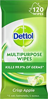 Dettol Multipurpose Antibacterial Disinfectant Surface Cleaning Wipes Crisp Apple 120 Pack (3041194)