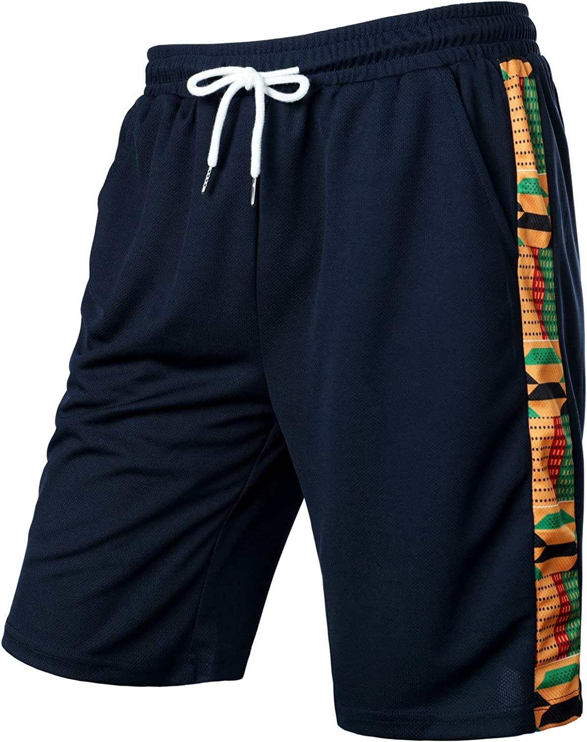 LucMatton Direct sale of manufacturer Men's Courier shipping free African Print Mesh Workout Quick Dry Bas Running