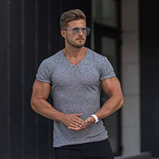 Men's V-neck Short-sleeved Knitted T-shirt Solid Color Short-sleeved Henry Shirt Slim Casual Fitness T-shirt Sports Slim T...