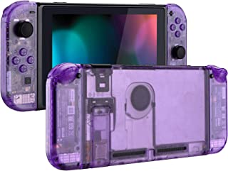 eXtremeRate Transparent Clear Purple Back Plate for Nintendo Switch Console, NS Joycon Handheld Controller Housing with Fu...